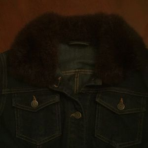 Ralph Lauren jean jacket with fur collar Sz L
